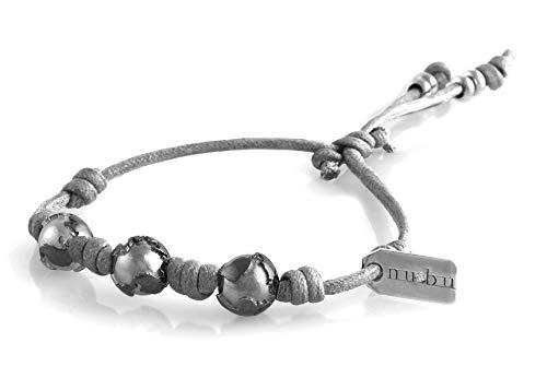Nubu Pulsera de plata 925 con diamante y cordón colgante | Mujer y Hombre | Pulsera de viaje artesanal | Hecho a mano en Italia Greyice