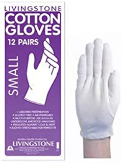 LIVINGSTONE COTTON GLOVES SMALL WHITE 12 PAIRS/BAG