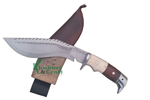 "Khukuri & Craft 8"" Blade Dragon American Eagle Bone and Horn Handle Best kukri Brown Sheath Working,Military Knives,Handmade, Nepal"