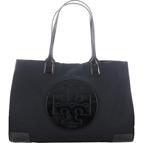 Tory Burch Womens Ella Patent Leather Shoulder Tote Handbag Black Large