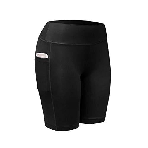 MUDEREK Women Sports Fitness Running Crop Trousers Leggings with Pocket Active Shorts Black