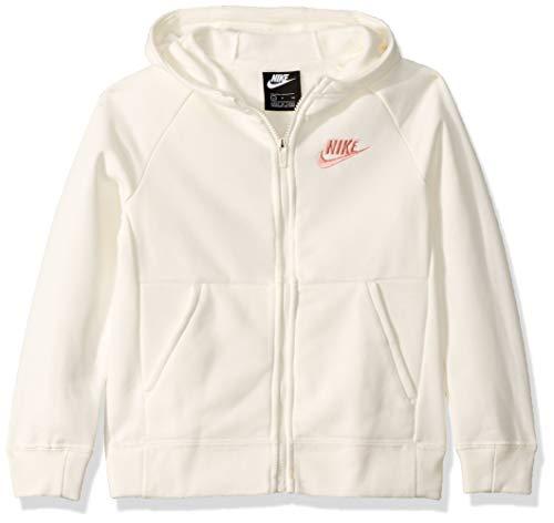 Nike Girl's NSW Full Zip Hoodie, Sail/Bleached Coral, Medium