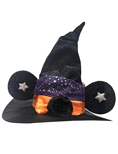 Sombrero de bruja de Halloween, sombrero de mago de orejas grandes, con rosa negra para mujer, carnaval, Navidad, cosplay, fiesta, accesorio-negro_talla nica