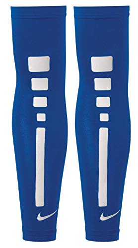 Coppia di Manicotti Copri Braccia NIKE Pro Elite Sleeves Blue Royal Bianco Basket Maniche (L-XL) (L...