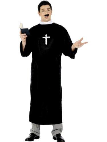 Smiffys-20422L Disfraz de Cura, con túnica Larga y Cuello, Color Negro, L - Tamaño 42