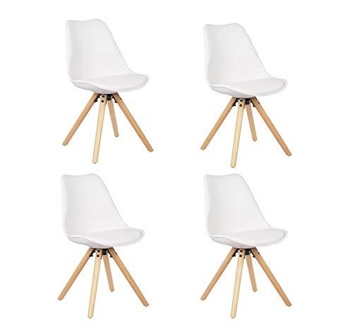 WV LeisureMaster 4 x Retro Stuhl Designerstuhl Esszimmerstühle mit Holzkissen Esszimmerstuhl Retro Küchenstuhl,Holzrahmen Natura, Kunstleder, Weiß