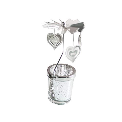 Athemeet Vidrio Esmerilado Spinning Candle Holder, Amor en Forma de corazón Vuelta por Scandinavian Design Menaje Accesorios rotativo del sostenedor de Vela de Plata