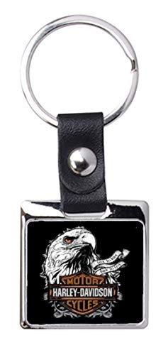 Portachiavi in acciaio / similpelle So Chic - Harley Davidson (Eagle)