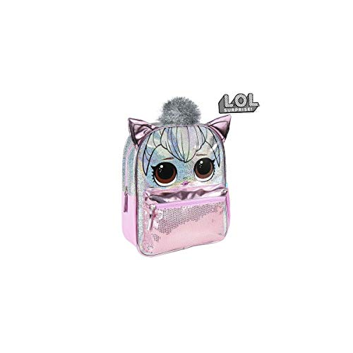 Cerdá - Mochila Infantil Metalizada Brillante de LoL Surprise de Color Rosa Claro - Licencia Oficial LOL Surprise