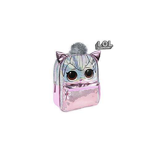 Cerdá - Mochila Infantil Metalizada Brillante de LoL Surprise de Color Rosa...