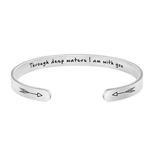 Through Deep Water I Am with You Hidden Message Scripture Cuff Bracelet Inspirational Christian Jewelry Gifts for Women