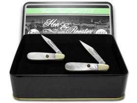 Hen and Rooster Mother Daughter Set Genuine Mother of Pearl 1/500 Barlow Pocket Knife Knives