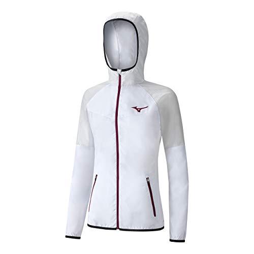 Mizuno, Printed Hoodie Trainingsjacke Damen-Weiß, Creme, XS, Giacche. Donna, Bianco