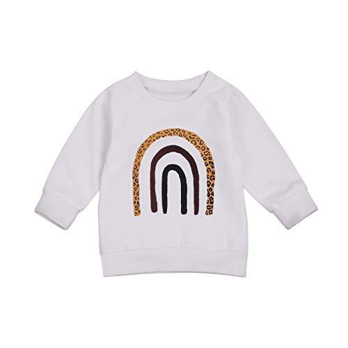 LUCSUN Sudadera de manga larga con patrón de arco iris para recién nacido, ropa de otoño e invierno