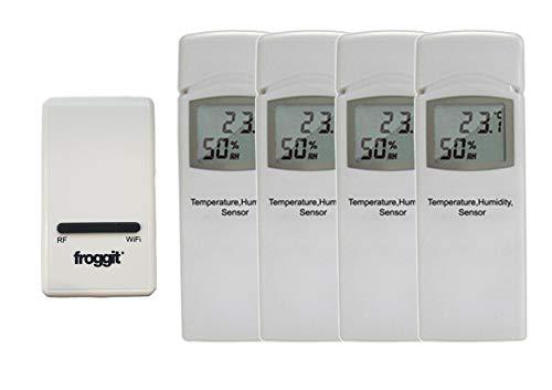 froggit DP1500 Wi-Fi Wetterserver Funk Wetterstation USB Dongle inkl. 4 Thermo-Hygrometer Funksensor