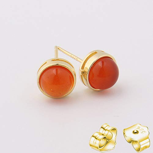 HUYV Stud Earrings For Woman,Fashion Natural Round Red Crystal Stone Golden Earrings 925 Silver Stud Earrings For Christmas Birthday Jewelry Gift Men Girls