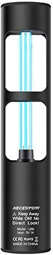 Lámpara de desinfección UV, lámpara esterilizante ultravioleta con ozono NECESPOW para el baño del armario para mascotas, lámpara UV germicida recargable, 360 grados mata las bacterias (negro)