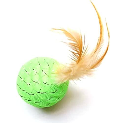 Petrichori Katzenschnurröhrchen Tragbares Haustierspielzeug Kreative Ananaskugelform Katzenspielzeug Interaktiver Katzenschnurball mit Federleitungsschlauchball Bissfestigkeit - Grün