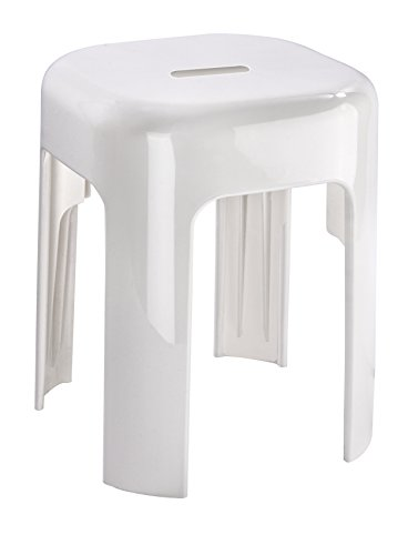 WENKO Hocker Alaska - Badhocker, Polypropylen, 37 x 45.5 x 37 cm, Weiß