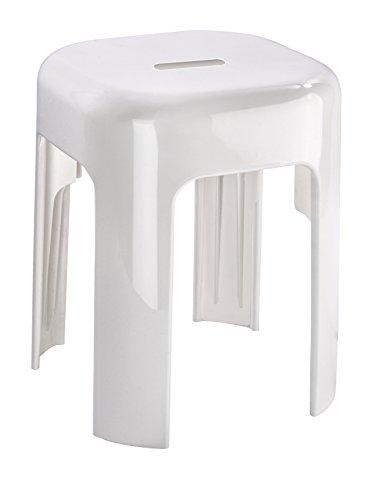 WENKO Hocker Alaska Badhocker, aus stabilem Kunststoff, belastbar bis 120 kg, Duschhocker / Badsitz in hochwertigem Weiß, mit Anti-Rutsch Füßen, 37 x 45,5 x 37 cm
