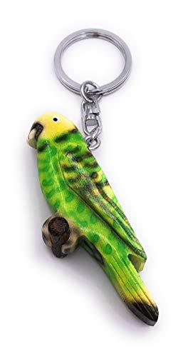 H-Customs Wellensittich Haustier grün punktiiert Holz Edel Handmade Schlüsselanhänger Anhänger