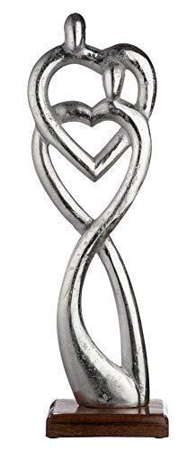 GILDE Figura - Verbundenheit - Deko-Objekt aus Aluminium und Mangoholz H 51 cm