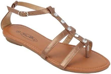 Starbay Women's Strappy Gladiator Flat Sandals with Rhinestones