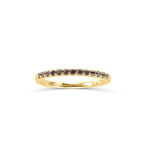 14K Yellow Gold 1/4 Cttw Created Alexandrite Stackable 2MM Wedding Anniversary Band Ring - June Birthstone, Size 6.5