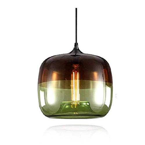 SkyTalent Two-Color Glass Pendant Light, 9.84 Inches Glass Globe Pendant Lighting, Modern Kitchen Hanging Light Fixture for Kithchen Island, Sink, Counter, Dining Room, Bar, Farmhouse (Green)