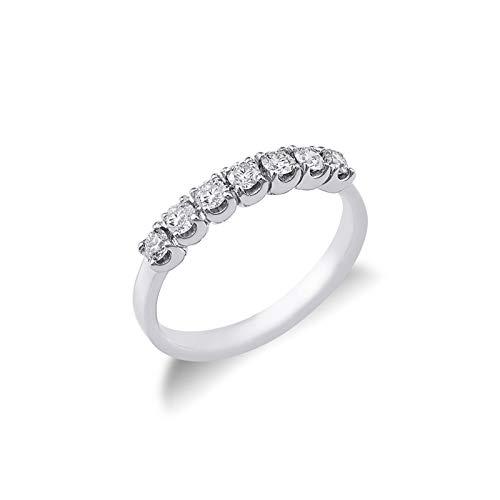 Gioielli di Valenza - Anello Veretta a 7 pietre in Oro bianco 18k con diamanti ct. 0,50 - FE701050BB - 11
