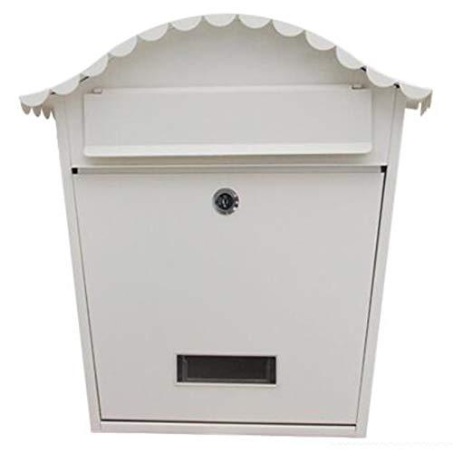 LXLA Briefkasten Vintage Wandhalterung Briefkasten, Abschließbarer Briefkasten Im Vogelkäfig-Stil mit 2 Schlüsseln und Anzeigefenstern, für Den Garten Im Außenbereich (Color : White)