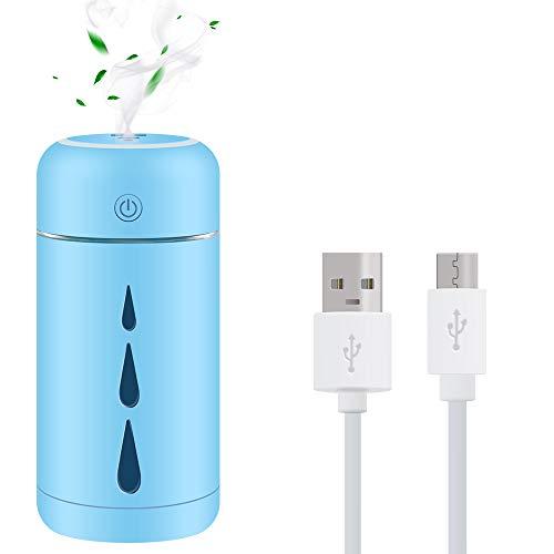 Teguangmei Humidificador Mini - 350ML Humidificador Portátil USB de Gran Capacidad,Funcionamiento Ultrasónico Silencioso,Apagado Automático/Con Luz Ambiental,Para Oficina,Coche,Bebé,Dormitorio-Azul