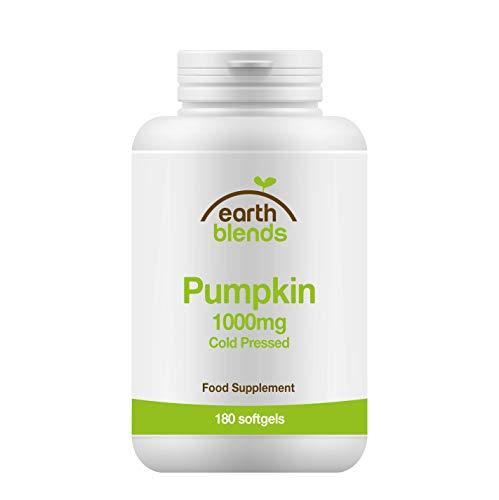 Earth Blends - Olio di semi di zucca 1000 mg, integratore per la salute della vescica, 180 capsule softgel, per adulti
