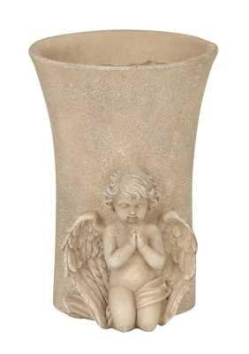 Grabvase mit Engel verziert Steckvase 18 cm hoch Grabschmuck Trauerschmuck
