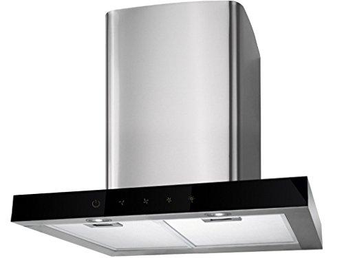 design Wandhaube 90 cm in Edelstahl mit Schwarzglas-Front Dunstabzugshaube Sensorschaltung touch control mit Nachlaufautomatik Küche Halogenbeleuchtung auf Umluft umrüstbar