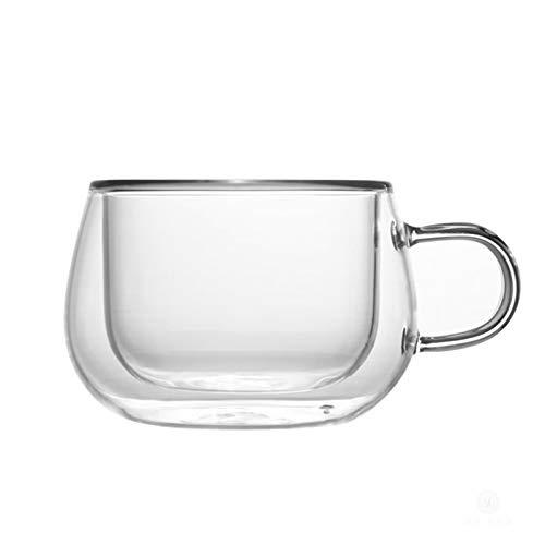 Tazas de café de Doble Capa Taza y platillo de Cristal creativos Tazas Transparentes de Oficina de Color Puro Leche turca Regalo para Mujer Cocina