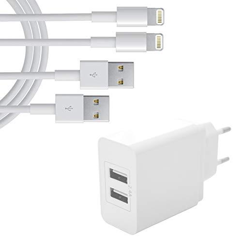 iQualTech Caricabatterie da viaggio per iPhone a 2 porte UE con 2 cavi di ricarica