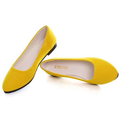 SAILING LU Pointy Toe Shoes Women Solid Ballet Flats Comfort Solid Flat Shoes for Work Slip On Moccasins Yellow Size 7.5