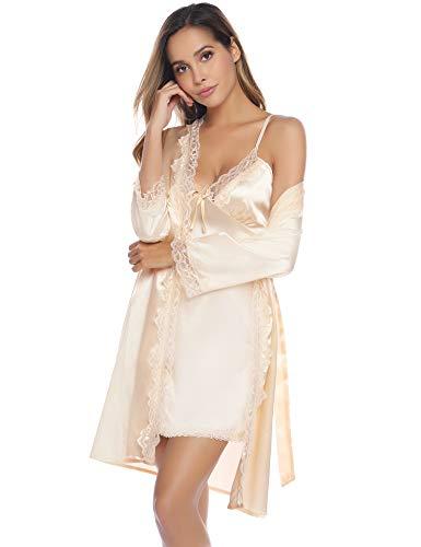 iClosam Damen Nachthemd Sexy Nachtkleid Zwei Stücke Sleepwear Set Trägerkleid Satin Morgenmantel Chemise Pyjama V Aussschnitt Schlafshirt mit Gürtel Spitze Patchwork für Sommer
