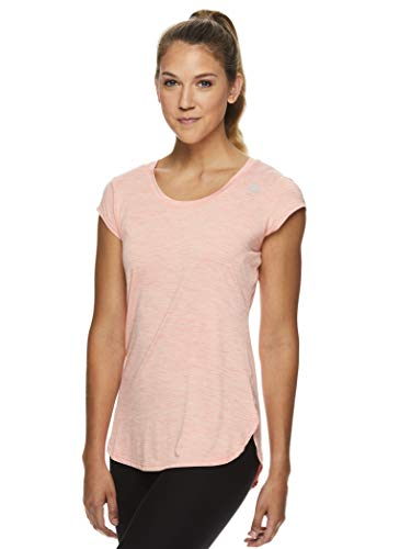Reebok Women's Legend Running & Gym T-Shirt - Performance Short Sleeve Workout Clothes for Women - Legend Fusion Coral Heather, Large