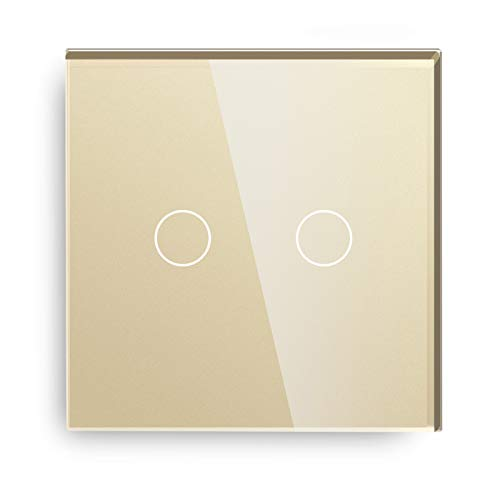 BSEED interruptor táctil de pared-2 Gang 2 Vías interruptor tactil pared Oro,Interruptores de luz pared con panel de vidrio templado