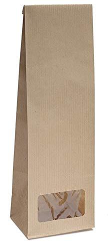 Blockbodenbeutel mit Sichtfenster - 250g - Größe 8 x 5 x 24,3 cm - Papiertüten Bodenbeutel Geschenktüte Papierbeutel Tütchen Kraftpapier (250g – mit Sichtfenster, 50 Stk. - OPP)