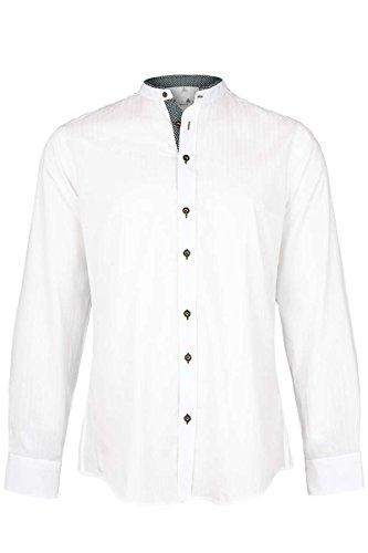 Gweih&Silk Herren Trachten Hemd mit Stehkragen Slim fit Weiss grün, GRÜN (grün), L