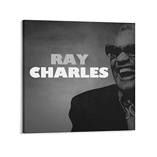 WANGDING Póster de Soul Musician Ray Charles en lienzo para colgar carteles en la pared, decoración moderna, idea de regalo de 50 x 50 cm