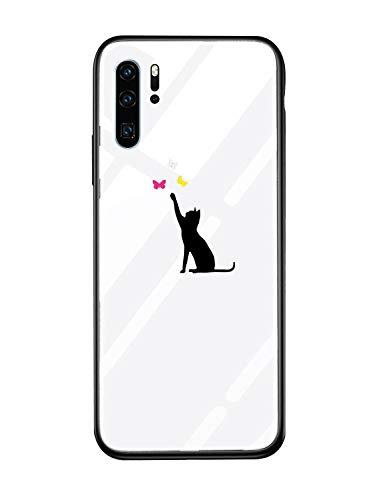 Alsoar Cover Compatibile per Huawei P30 Cover Sottile Antiurto Resistente per Huawei P30 Custodia,Morbido Silicone Bumper e etro Temperato Antiurti Moda Disegni Protettiva (Gatto nero)