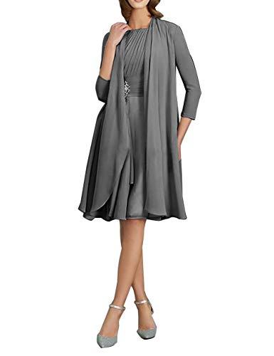 Brautmutterkleider Knielang mit Jacke A-Linie Chiffon Elegante Cocktailkleider Abendkleider Ballkleider Hochzeit Kleider Stahlgrau 48