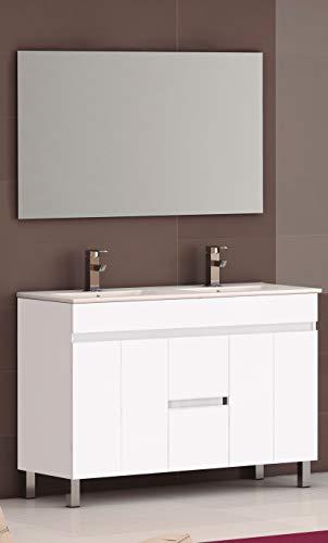 EL ALMACEN DEL PROFESIONAL Juego de Mueble de Baño Modelo Egipto Porcelana, Conjunto formado por Mueble de Baño Estilo Madera Color Lacado en Blanco Ancho 120cm, Lavabo de Porcelana y Espejo a Juego