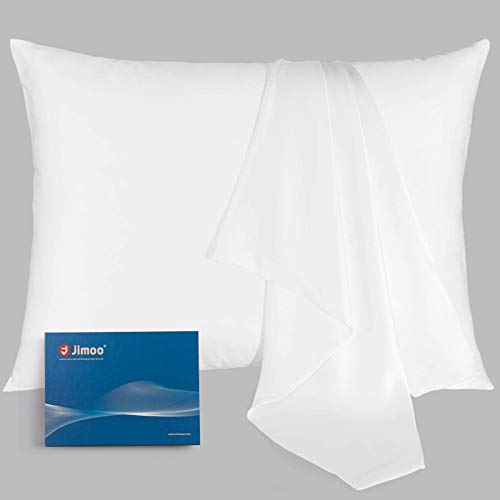 J JIMOO Natural Silk Pillowcase, for Hair and Skin with Hidden Zipper,22 Momme,600 Thread Count 100% Mulberry Silk, Soft Breathable Smooth Both Sided Silk Pillow Cover(White, Standard 20''×26'',1pc)