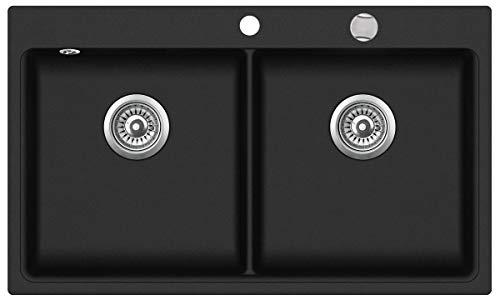 Victory W-DB860 Granitspüle Doppelbecken 86x51 cm Küchenspüle Einbau Spülbecken ab 60er Schrank inkl. Drehexcenter (black)