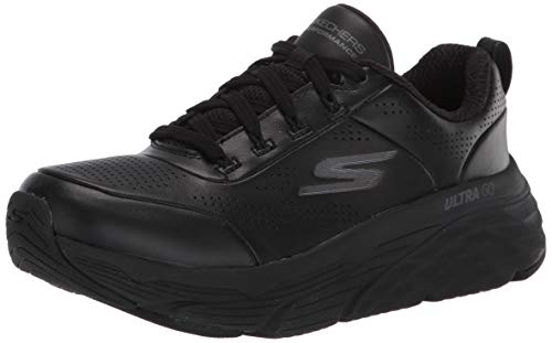 Skechers MAX Cushioning Elite Step UP, Zapatillas Mujer, Negro (Black Leather/Trim BBK), 39 EU